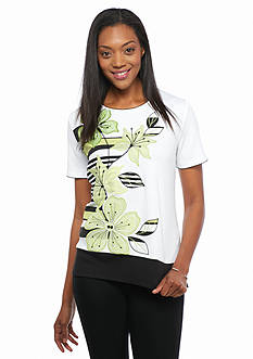 Alfred Dunner Petite Sao Paolo Floral Applique Knit Top