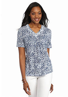 Alfred Dunner St. Augustine Embellished Printed Burnout Tee