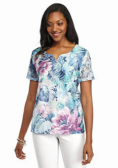 Alfred Dunner St. Augustine Tropical Lace Front Top
