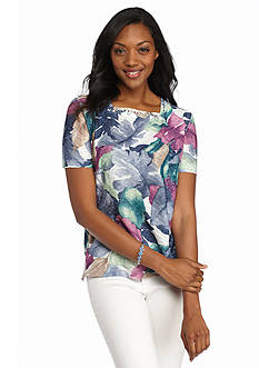 Alfred Dunner St. Augustine Tropical Leaf Embellished Top