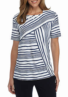 Alfred Dunner Short Sleeve Spliced Stripe Top