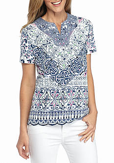 Alfred Dunner Printed Knit Top