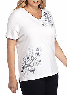 Alfred Dunner Plus Asymmetrical Floral Top
