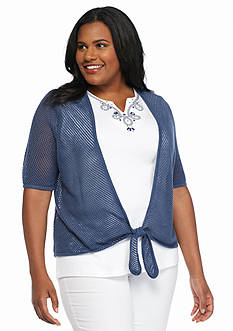 Alfred Dunner Plus Size St. Augustine Pointelle Cardigan 2Fer Top