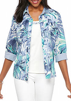 Alfred Dunner Petite Tropical Woven 2Fer
