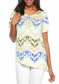 Alfred Dunner Cyprus Watercolor ZigZag Top