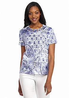 Alfred Dunner Cyprus Paisley Diamond Embellished Tee