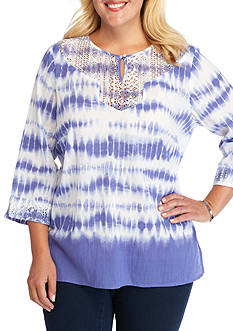 Alfred Dunner Plus Size Cyprus Tie Dye Blouse