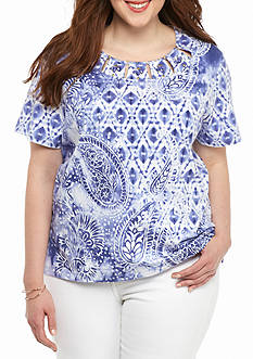 Alfred Dunner Plus Size Paisley Diamond Knit Top