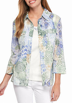 Alfred Dunner Petite Cyprus Abstract Patch Print Woven 2Fer