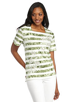 Alfred Dunner Petite Cyprus Embroidered Striped Tee