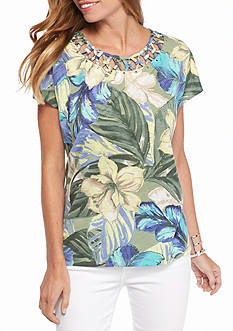 Alfred Dunner Petite Cyprus Tropical Print Knit Top