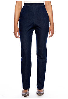 Alfred Dunner South Hampton Proportioned Pull On Denim Pant Average Inseam