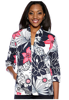 Alfred Dunner Petite South Hampton Tropical Quilted Jacket
