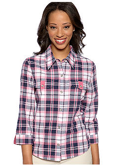 Alfred Dunner Petite South Hampton Plaid Button Front Shirt