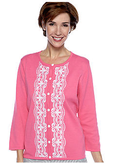 Alfred Dunner Petite South Hampton Lace Cardigan