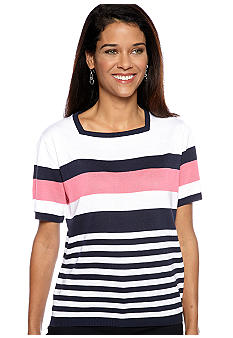 Alfred Dunner Petite South Hampton Multi Stripe Sweater