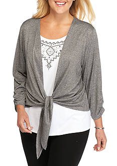 Alfred Dunner Plus Size Arcadia Tie Front 2Fer