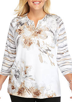 Alfred Dunner Plus Size Arcadia Floral Knit Top