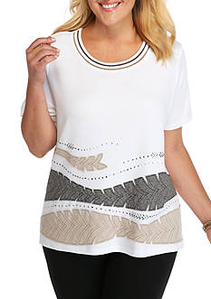 Alfred Dunner Plus Size Arcadia Applique Border Leaves Top