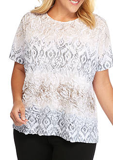 Alfred Dunner Plus Size Arcadia Textured Biadere Top