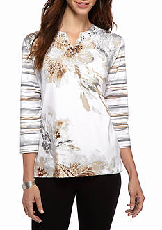 Alfred Dunner Petite Arcadia Floral Knit Top