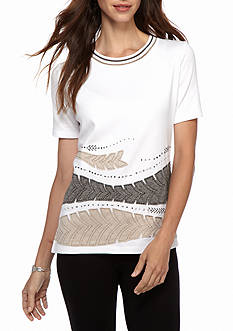 Alfred Dunner Petite Arcadia Applique Border Leaves Top