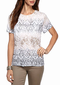 Alfred Dunner Petite Arcadia Textured Biadere Top