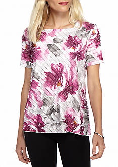 Alfred Dunner Veneto Valley Floral Ruffle Knit Top