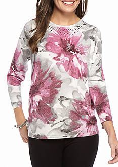 Alfred Dunner Petite Veneto Valley Floral Shimmer Sweater