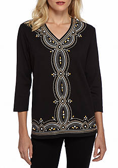 Alfred Dunner Madison Park Embroidered Knit Top