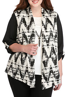 Alfred Dunner Plus Size Printed Jacquard 2Fer