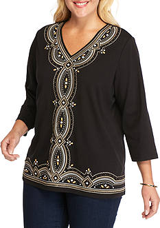 Alfred Dunner Plus Size Madison Park Embroidered Knit Top