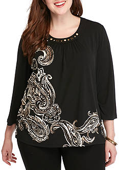 Alfred Dunner Plus Size Madison Park Placed Paisley Knit Top