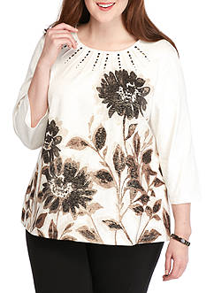 Alfred Dunner Plus Size Madison Park Placed Floral Knit Top