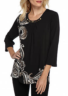 Alfred Dunner Petite Madison Park Placed Paisley Knit Top