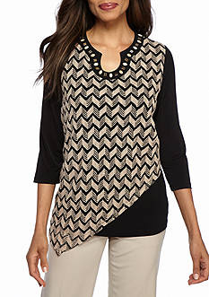 Alfred Dunner Petite Madison Park Embellished Chevron Top