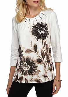 Alfred Dunner Petite Madison Park Placed Floral Print Top