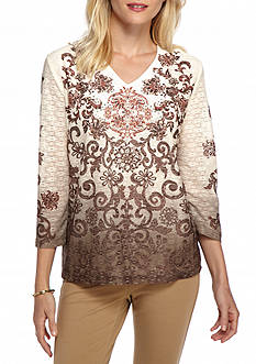 Alfred Dunner Santa Fe Ombre Scroll Knit Top