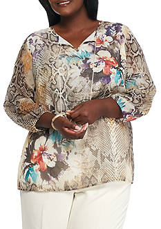 Alfred Dunner Plus Size Santa Fe Placed Floral Print Tunic