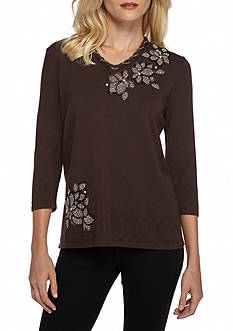 Alfred Dunner Petite Santa Fe Floral Check Print Sweater