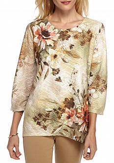Alfred Dunner Petite Cactus Ranch Floral Yoke Knit Top
