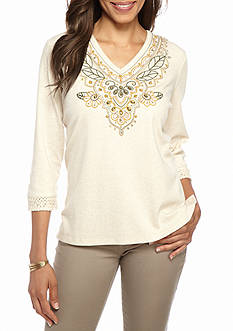 Alfred Dunner Petite Cactus Ranch Embroidered Yoke Knit Top