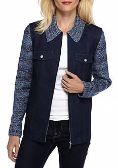 Alfred Dunner Sierra Madre Knit Sleeve Denim Jacket