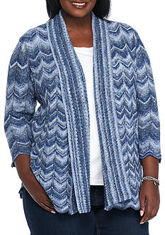 Alfred Dunner Plus Size Sierra Madre Space Dye Cardigan