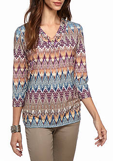 Alfred Dunner Petite Sierra Madre Zig Zag Knit Top