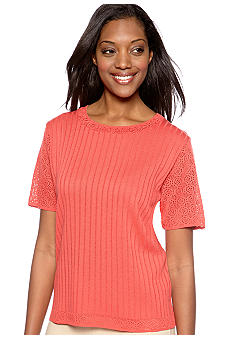 Alfred Dunner Monaco Textured Sweater Shell