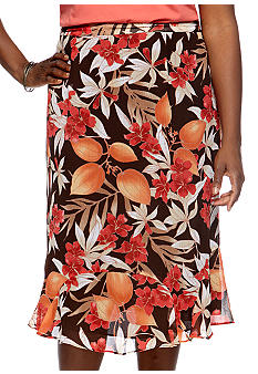 Alfred Dunner Plus Size Monaco Tropical Printed Skirt