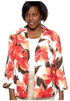 Alfred Dunner Plus Size Monaco Brushed Floral Open Front Jacket