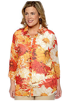 Alfred Dunner Plus Size Monaco Watercolor 2Fer Blouse
